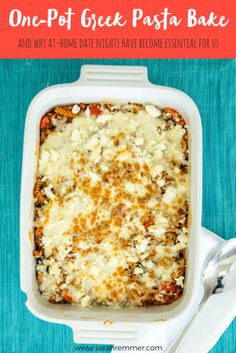 One-Pot greek pasta bake (and why at-home date nights have become essential for us! Healthy Meals For Two, Nutritious Meals, Healthy Snacks, Healthy Recipes, Healthy Kids, Healthy Living, Healthy Dinners, Snack Recipes, Greek Pasta