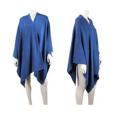 Vintage Blue Knit Cotton Shawl With VOII Label