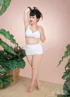 Retro Halter Top and Hi Waisted Skirt Bottom by BlackCatBikinis,