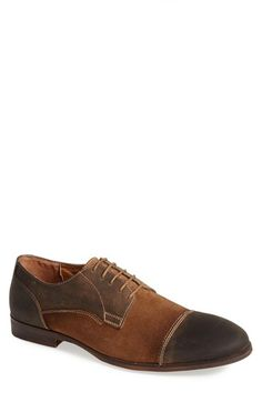 Free shipping and returns on Roberto Vasi 'Garth' Cap Toe Derby (Men) at Nordstrom.com. Distressed leather and soft, contrasting suede form a vintage-inspired cap-toe derby trimmed in white stitching.
