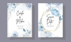 Beautiful Wedding Invitations, Floral Wedding Invitations, Wedding Invitation Templates, Elegant, Blue, Classy, Wedding Invitation Design, Chic