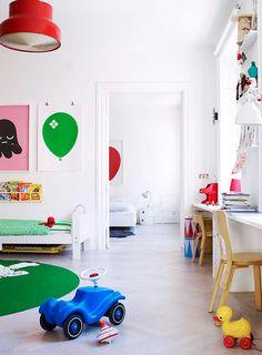 Creative and Colourful room via Trendenser *love the desks*