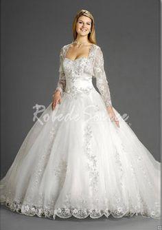 Robe de Mariée Col en Coeur-Ball-robe sweetheart chapelle train satin des robes de tulle de mariée en dentelle