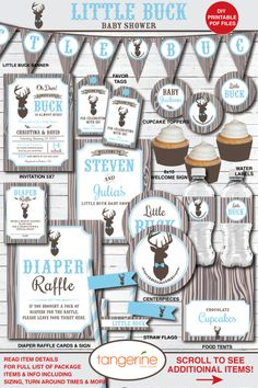 Deer Baby Shower Decorations Boy,  Little Buck Baby Shower Decorations by TangerinePaperShoppe