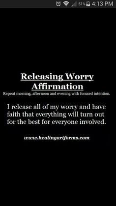 Releasing Worry Affirmation