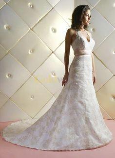 White A-line V-Neck Halter Sash Beading Embroidery Floor Length Satin Wedding Dress