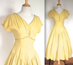 Vintage 1940s lemon yellow linen summer dress with looped crochet trim! Perfect for a summer tea party or special occasion! Wear as is or layer