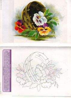 riscos para pintura - carla benchea - Picasa Web Album One Stroke Painting, Tole Painting, Fabric Painting, Painting & Drawing, Watercolor Paintings, Country Paintings, Drawing Lessons, Flower Tutorial, Painting Patterns
