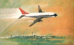 South African Airways 737 postcard