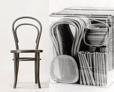 Six easy pieces of wood! Thonet's A14 was two circles, two sticks and a couple of arches - held together by 10 screws and two nuts.