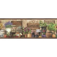 Brewster Home Fashions Pure Country Brittany Herbs Antiques Portrait 15' x 6'' Food 3D Embossed Border Wallpaper