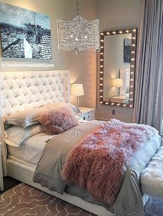 Pretty Pink-Grey Style Bedroom Design @thewelldressedhouse #styleestate