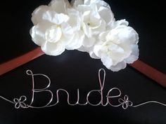 Personalized Hanger with WHITE flowers.