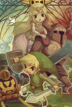 The Legend of Zelda: Spirit Tracks Toon Link and Toon Princess Zelda The Legend Of Zelda, Wind Waker, Saga Zelda, Nintendo, Film D'animation, Video Game Art, Video Games, Link Zelda, Twilight Princess