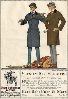 Original 1915 Mens Fashion Illustration Ad  Hart by MyPaperedPast, $8.00