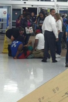 A baby being born at a Wal-Mart on Black Friday...
