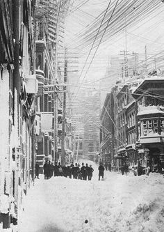 The Great Blizzard of 1888 was one of the most severe recorded blizzards in the history of the United States. Snowfalls of 40-50 inches fell in parts of New Jersey, New York, Massachusetts and Connecticut, and sustained winds of more than 45 miles per hour produced snowdrifts in excess of 50 feet. Railroads were shut down and people were confined to their houses for up to a week.