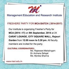 Fresher's Party for MCA (2014 -17) http://wp.me/p4iyfw-1rx