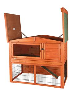 Outdoor Rabbit Hutch with Peaked Roof (M), Glazed Pine by Trixie