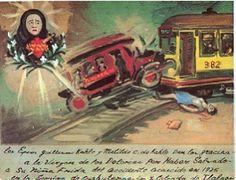 """""""Los señores Guillermo Kahlo y Matilde C. de Kahlo le dan gracias a Nuestra Señora de los Dolores por salvar a nuestra hija Frida del accidente que tuvo lugar en 1925, en la esquina de Cuahutemozin y Calzada de Tlalpah."""""""