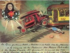 Retablo  1940..In 1925, at the age of 18, Frida was on her way home from school on a bus that collided with a trolley car. Frida sustained a broken pelvic bone, spinal column, and other severe injuries, leading doctors to doubt whether she would survive. Because of these injuries Frida would never have children and have life long surgeries and pain.