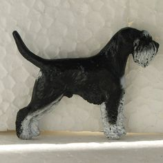 Schnauzer Black White With Tail Brooch Dog Breed Jewellery Handpainted Resin