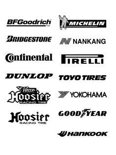 Free Logos Vector Brands BFGGoodrich, Michelin, Bridgestone, Hankang, Continental, Pirelli, Dunlop, Toyo Tires, Hoosier, Yokohama, GoodYear, Hankook In the zip-archive set includes Brands vector file: *.svg, *.pdf
