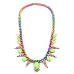Yellow Gem Statement Necklace with Rainbow Chain