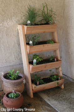 cedar planter box filled with herbs