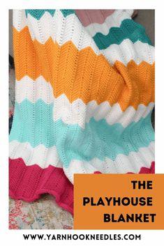 How To Make The Tunisian Crochet Playhouse Blanket! Tunisian Crochet Blanket, Tunisian Crochet Patterns, Baby Blanket Crochet, Crochet Baby, Afghan Patterns, Crochet Blankets, Knitting Patterns, Knitting Looms, Knitting Tutorials