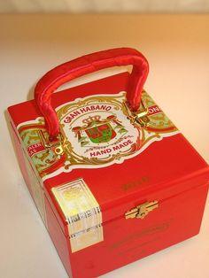 Red and Gold Cigar Box Purse/Storage Box