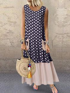 Shopping Casual Round Neck Patchwork Sleeveless Dress online with high-quality and best prices Maxi Dresses at Luvyle. Casual Dresses, Fashion Dresses, Summer Dresses, Hijab Fashion, Vetement Fashion, Dresses Online, Short Sleeve Dresses, Sleeveless Dresses, Plus Size