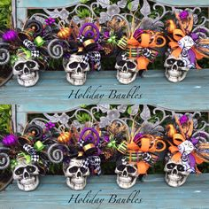 Skull Centerpieces by Holiday Baubles - Real Time - Diet, Exercise, Fitness, Finance You for Healthy articles ideas Halloween Trees, Halloween 2015, Halloween Birthday, Halloween Skeletons, Halloween Projects, Diy Halloween Decorations, Cute Halloween, Holidays Halloween, Halloween Centerpieces