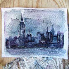 Empire State y alrededores.  La foto original la ha hecho mi hermano.   #newyork #acuarela #watercolor #watercolors #watercolour #acuarelas #dibujo #ilustración #drawing #dibujos #illustration #art #arte #artist #artwork #nyc #buildings #edificios #empirestate #instaart #drawsofinsta #ny #manhattan #city #midtown #skyline #skyscrapers #rascacielos #manhattannyc #empirestatebuilding