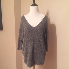 Marled Gray Oversized Sweater This loose and flowy sweater is the perfect piece to wear with leggings or skinny jeans. Super comfy and cute! Could easily fit a size small too. Express Sweaters