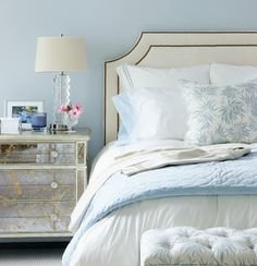 Love the glass lamp on mirrored side table. Beautiful look. Greenwich Home - contemporary - bedroom - MuseInteriors