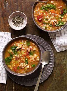 Slow Cooker Smoky Navy Bean Soup from familycircle.com #myplate #slowcooker #soup
