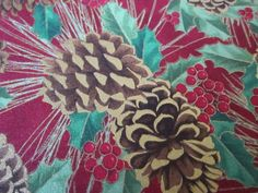 Pinecones and Holly on a Red Background/ Christmas fabric  #48 by FloridaFriends on Etsy