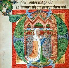 Prag Dokumentation: 1387 ; 1387 ; Wien ; Österreich ; Wien ; Österreichische Nationalbibliothek ; cod. s. n. 2643 ; fol. 185r Decorated Letters, Cloaks, Mantles, Veils, Calligraphy, Album, Ideas, Drop Cap, The Documentary