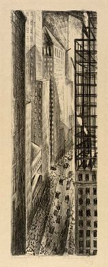 ADRIAAN LUBBERS Broadstreet (1929, lithograph)