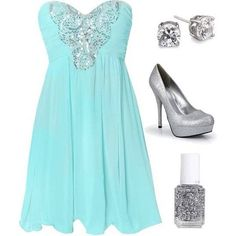 Tiffany Blue & Silver Cocktail Dress
