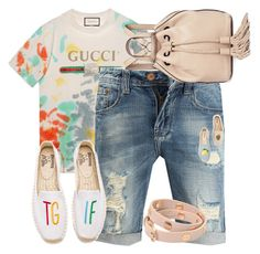 """""""Name it casual"""" by j477 on Polyvore featuring Gucci, Soludos, Rebecca Minkoff, Tory Burch, denim, casualoutfit, gucci и denimshorts"""