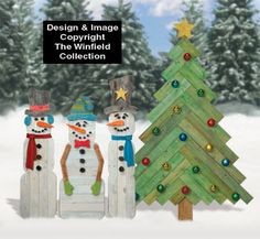 I want THAT tree!!! Pallet Wood Snowmen and Pine Tree Pattern Set