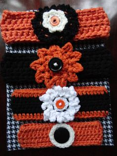 Orange Crochet Infant's Headband with Black by AccessoriesByHand, $12.00