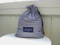 Lingerie travel bag, bachelor gift, honeymoon gift, laundry bag, stripes navy blue bag, custom label on Etsy, $19.00