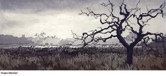 Snape Marshes by Chrissy Norman on the Norwich Print Fair website - contemporary fine art printmakers working in Norfolk and Suffolk. Tree Sketches, Simple Tree, Big Tree, Woodblock Print, Landscape Paintings, Landscapes, Printmaking, Countryside, Illustration Art