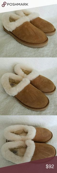 Women's UGG Nita Chestnut UGG AUSTRALIA NITA SLIP ON SLIPPERS  Twin-faced sheepskin upper with a cozy sheepskin collar for added warmth and style. Suede heel counter and nylon binding. UGGpure sockliner naturally wicks away moisture to keep feet dry and comfortable. Have been tried on .  These fit tight but loses after a couple wears . Really nice!  Brand new, no box ! UGG Shoes Slippers