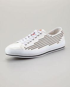 1bc40a6dde00b2 Prada Perforated Low Sneaker in White for Men - Lyst Prada Men