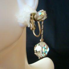 Aurora Borealis Crystal Silver Tone Dangle Earrings 50s | Etsy Screw Back Earrings, Earring Backs, Aurora Borealis, Vintage Earrings, Dangle Earrings, Dangles, Sparkle, Crystals, Silver