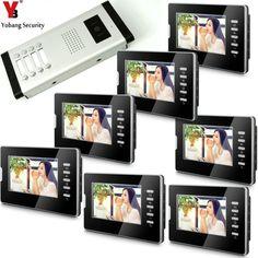 YobangSecurity 7 Inches Color Video Doorbell Door Chime,Rainproof Door Phone Night Vision For 8 Units Villa Apartment Intercom